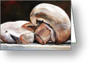 Food Art Painting Greeting Cards - Still Life Mushrooms Greeting Card by Toni Grote