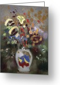 Vase Of Flowers Greeting Cards - Still Life of a Vase of Flowers Greeting Card by Odilon Redon