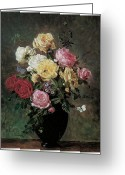 Bouquet Of Roses Greeting Cards - Still Life of Flowers in a Vase Greeting Card by Olaf August Hermansen