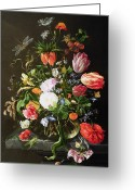 Petal Greeting Cards - Still Life of Flowers Greeting Card by Jan Davidsz de Heem