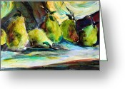 Reds Greeting Cards - Still life of Pears Greeting Card by Mindy Newman