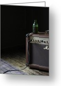 Amplifier Greeting Cards - Still Life Of  Retro Amplifier  With Open Bottle O Greeting Card by Paul Viant