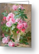 Signature Painting Greeting Cards - Still life of roses in a glass vase  Greeting Card by Frans Mortelmans