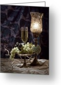 Vino Greeting Cards - Still Life Wine with Grapes Greeting Card by Tom Mc Nemar