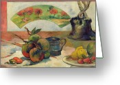 Gauguin; Paul (1848-1903) Greeting Cards - Still Life with a Fan Greeting Card by Paul Gauguin