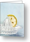 Lemons Greeting Cards - Still Life With A Half Slice Of Lemon Greeting Card by Priska Wettstein