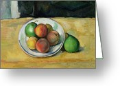 Peaches Greeting Cards - Still Life with a Peach and Two Green Pears Greeting Card by Paul Cezanne