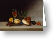Signed Greeting Cards - Still Life with a Wine Glass Greeting Card by Raphaelle Peale