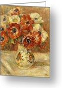 Pierre Renoir Greeting Cards - Still Life with Anemones  Greeting Card by Pierre Auguste Renoir