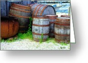 Shed Digital Art Greeting Cards - Still Life with Barrels Greeting Card by RC DeWinter