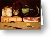 Prowling Greeting Cards - Still Life with Cat and Mouse Greeting Card by Anonymous