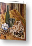 Figs Greeting Cards - Still Life with chesnuts and eggs Greeting Card by Vladimir Kezerashvili