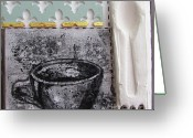Low Relief Greeting Cards - Still Life With Coffee Cup Beans And Spoon Greeting Card by Peter Allan