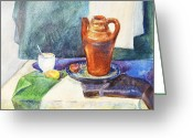 Academic Art Greeting Cards - Still Life With Cup and Coffeepot  Greeting Card by Irina Sztukowski