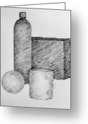Coffee Drawings Greeting Cards - Still Life with Cup Bottle and Shapes Greeting Card by Michelle Calkins