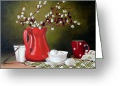 Jugs Greeting Cards - Still life with eggs Greeting Card by Rose Sciberras