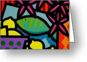 Modern Framed Prints Greeting Cards - Still Life With fish Greeting Card by John  Nolan