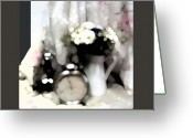 Oil Lamp Greeting Cards - Still Life With Flowers And Clok Greeting Card by Marinela Filip