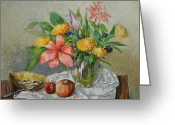 Rich Colors Greeting Cards - Still life with flowers Greeting Card by Grigor Malinov