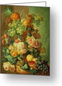 Melon Greeting Cards - Still Life with Fruit and Flowers Greeting Card by Jan van Os