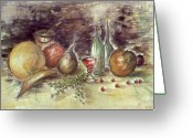 Aquarel Greeting Cards - Still Life with Fruits - Aquarel Watercolor Greeting Card by Peter Art Prints Posters Gallery