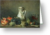 Chardin Greeting Cards - Still Life with Grapes and Pomegranates Greeting Card by Jean-Baptiste Simeon Chardin