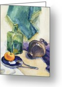 Academic Art Greeting Cards - Still Life With Green Bottle Greeting Card by Irina Sztukowski
