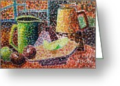 Carolinestreet Greeting Cards - Still Life with Green Jug Painting Greeting Card by Caroline Street