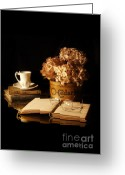Flower Blossom Greeting Cards - Still Life with Hydrangea and Books Greeting Card by Jill Battaglia