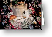 Tea Pastels Greeting Cards - Still life with lace Greeting Card by Constance Drescher