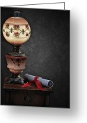 Oil Lamp Pyrography Greeting Cards - Still Life with Lamp Greeting Card by Krasimir Tolev