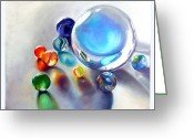 Toys Pastels Greeting Cards - Still Life With Marbles 05 Greeting Card by Sue Gardner