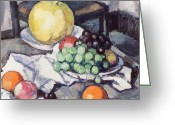 Melon Painting Greeting Cards - Still Life with Melons and Grapes Greeting Card by Samuel John Peploe