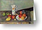 Jugs Greeting Cards - Still life with milkjug and fruit Greeting Card by Paul Cezanne