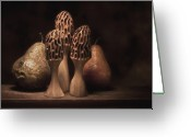 Carving Greeting Cards - Still Life with Mushrooms and Pears I Greeting Card by Tom Mc Nemar
