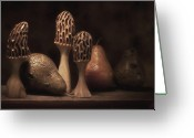 Mushrooms Greeting Cards - Still Life with Mushrooms and Pears II Greeting Card by Tom Mc Nemar