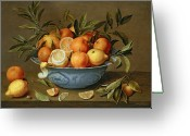 Food And Beverage Painting Greeting Cards - Still Life with Oranges and Lemons in a Wan-Li Porcelain Dish  Greeting Card by Jacob van Hulsdonck