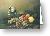 Peach Greeting Cards - Still-life with peaches Greeting Card by Tigran Ghulyan