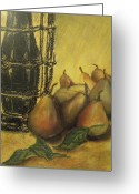 Oil Lamp Greeting Cards - Still life with pears Greeting Card by Rita Bandinelli