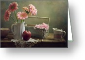 Israel Greeting Cards - Still Life With Pink Gerberas And Red Apple Greeting Card by Copyright Anna Nemoy(Xaomena)