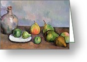 Pitcher Painting Greeting Cards - Still Life with Pitcher and Fruit Greeting Card by Paul Cezanne