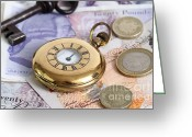 Valuable Time Greeting Cards - Still Life With Pocket Watch, Key Greeting Card by Photo Researchers