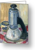 Kitchen Ware Greeting Cards - Still Life With Retro Coffee Maker Greeting Card by Lelia Sorokina