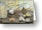 Pitcher Greeting Cards - Still Life with Seashells and Pine Cones Greeting Card by Ethel Vrana