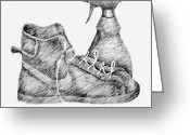 Pen And Ink Drawing Drawings Greeting Cards - Still Life with Shoe and Spray Bottle Greeting Card by Michelle Calkins
