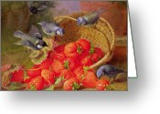 Feeding Painting Greeting Cards - Still Life with Strawberries and Bluetits Greeting Card by Eloise Harriet Stannard