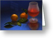 Tangerines Greeting Cards - Still Life with Tangerins Greeting Card by Vladimir Kholostykh