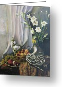 Peaches Greeting Cards - Still-life with the French horn Greeting Card by Tigran Ghulyan