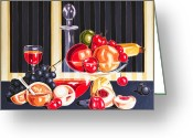 Varvara Stylidou Greeting Cards - Still LIfe With The Garden Fruits Greeting Card by Varvara Stylidou