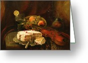 Peaches Greeting Cards - Still-life with the violin Greeting Card by Tigran Ghulyan